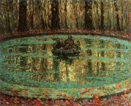 Henri Le Sidaner - Water Basin covered with Leaves