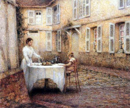 Henri Le Sidaner - Lunch-break in the Garden, Gerberoy