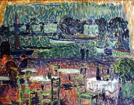 Henri Le Sidaner - Das Cafe am Hafen, Bretagne