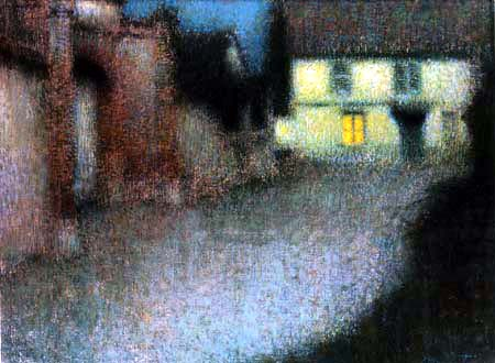 Henri Le Sidaner - The portal in the moonlight, Gerberoy