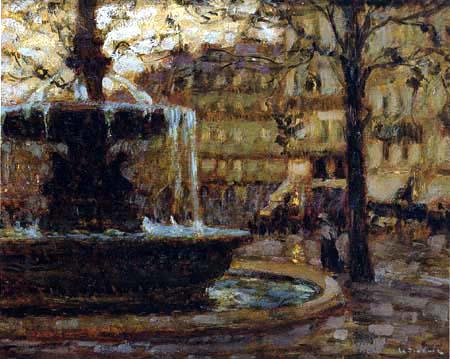 Henri Le Sidaner - The Fountain, Paris