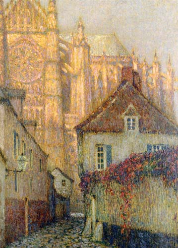 Henri Le Sidaner - The Cathedral of Beauvais at sunset