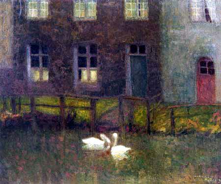 Henri Le Sidaner - The Swans, Bruges