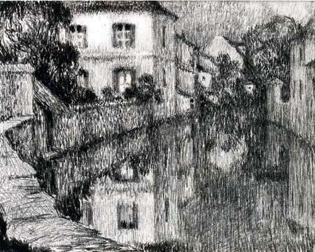 Henri Le Sidaner - Haus am Fluß in Nemours