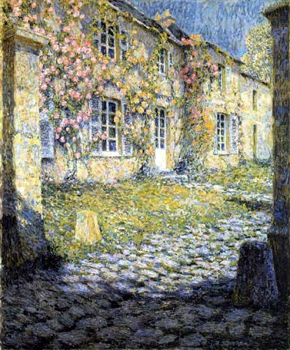 Henri Le Sidaner - House with roses in Versailles