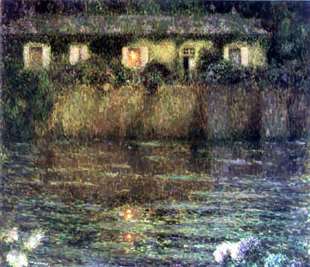 Henri Le Sidaner - The house on the water, Dusk