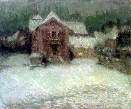 Henri Le Sidaner - Place under the snow, Gerberoy