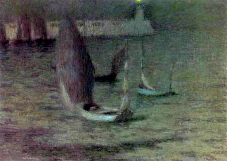 Henri Le Sidaner - Boats in the Moonlight, Le Treport