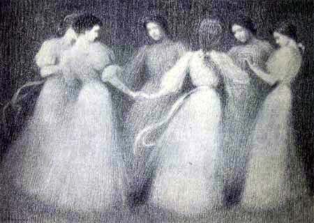 Henri Le Sidaner - Round Dance in the Moonlight, Paris