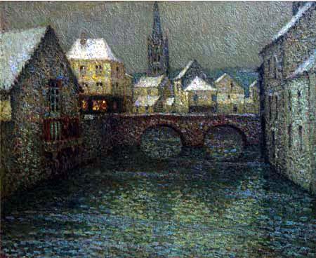 Henri Le Sidaner - Schnee in Harfleur