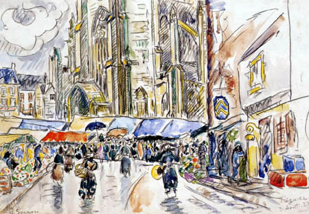Paul Signac - Der Markt, Tréguier