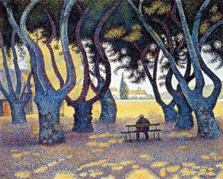 Paul Signac - Niedrige Bäume im Place des Lices, Saint-Tropez