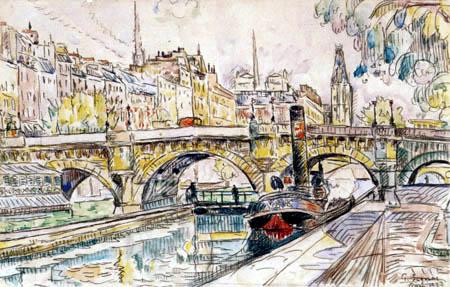 Paul Signac - Tugboat at the Pont Neuf, Paris