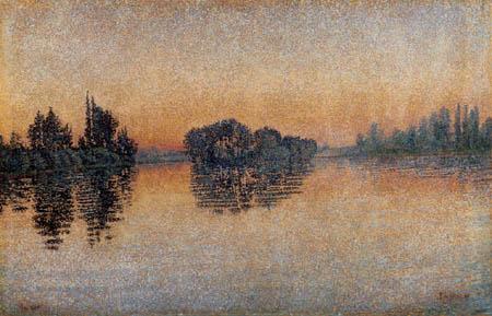 Paul Signac - Coucher du soleil, Herblay