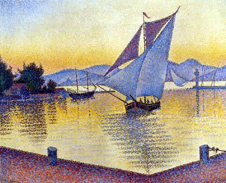 Paul Signac - Der Hafen von Saint-Tropez  im Sonnenuntergang