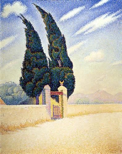 Paul Signac - Deux cyprès, mistral