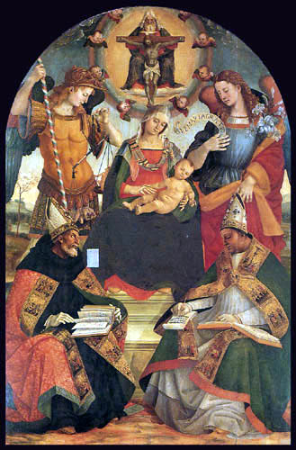 Luca Signorelli - Trinity, Madonna and two Saints