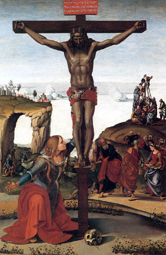 Luca Signorelli - Christ at the cross with Saints