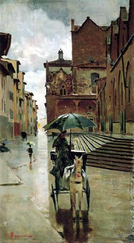 Telemaco Signorini - Kutschfahrt im Regen