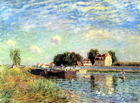 Alfred Sisley - Canal du Loing, Saint-Mammès