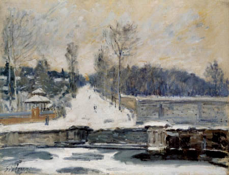 Alfred Sisley - Gefrorener Teich bei Marly-le-Roi