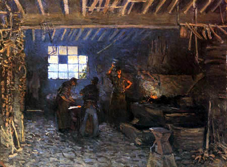 Alfred Sisley - The smithy in Marley le Roi