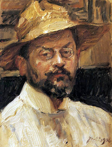 Max Slevogt - Selfportrait with straw hat