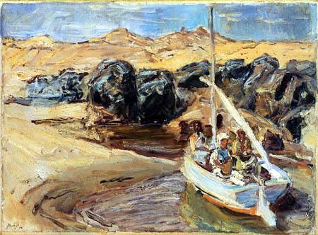 Max Slevogt - Nilbarken bei den Granitfelsen