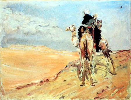 Max Slevogt - Camel riding in the Libyan desert