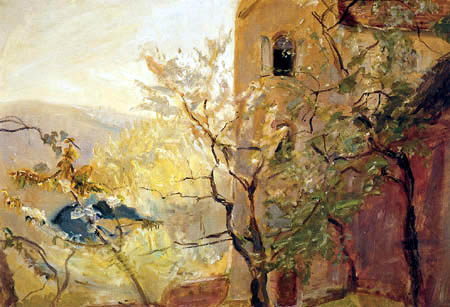 Max Slevogt - Flowering cherry trees in Neukastel