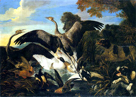 Frans Snyders (Snijders) - Dogs on the hunt for waterfowl