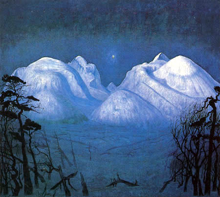 Harald Sohlberg - Winter night in Rondane