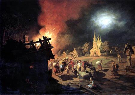 Leonid Solomatkin - Fire in the village