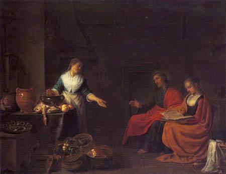Hendrick Maertensz. Sorgh - Le Christ avec Marie et Martha