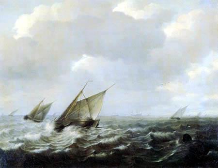 Hendrick Maertensz. Sorgh - Bateaux par le vent fort