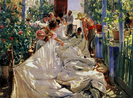 Joaquín Sorolla y Bastida - Sewing the Sail