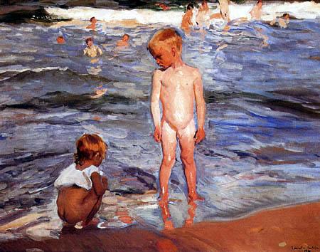 Joaquín Sorolla y Bastida - Children bathing. Valencia. Setting sun.