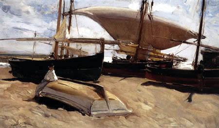 Joaquín Sorolla y Bastida - Boats on the Sand, Valencia Beach