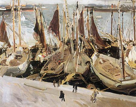 Joaquín Sorolla y Bastida - Fischerboote im Hafen von Valencia