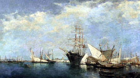 Joaquín Sorolla y Bastida - Seestück. Schiffe im Hafen