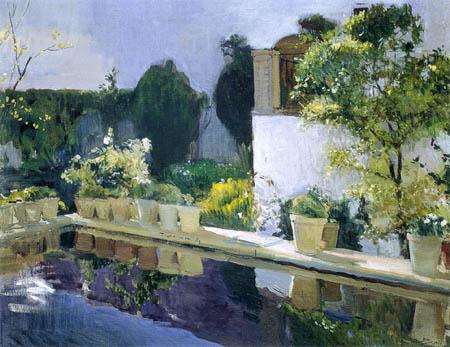 Joaquín Sorolla y Bastida - Der Teich im Palast von Sevilla