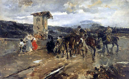 Joaquín Sorolla y Bastida - Stopping along the Way, Scene for 'Don Quixote'