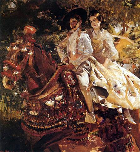 Joaquín Sorolla y Bastida - Valencianisches Paar zu Pferd