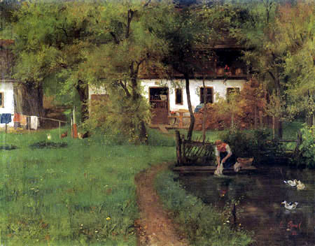 Johann Sperl - Farmhouse with wash woman at the pond