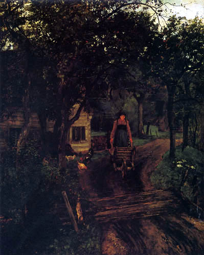 Johann Sperl - Village route with old farmer's wife