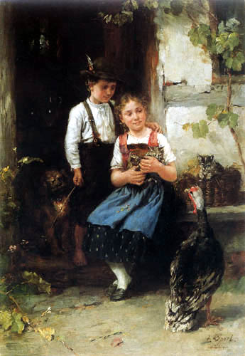 Johann Sperl - Brother and sister with turkeycock