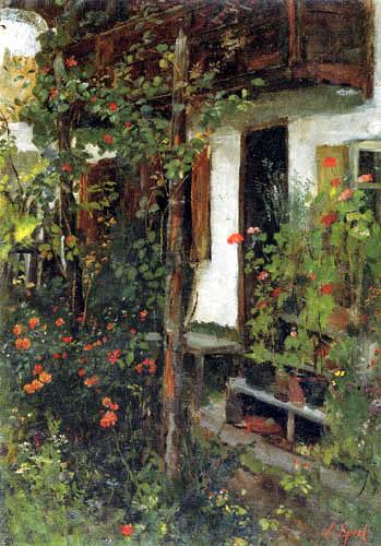 Johann Sperl - Entrance with flowers