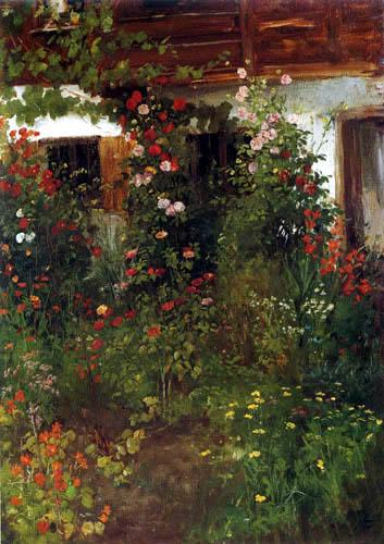 Johann Sperl - Hauseingang mit Blumen