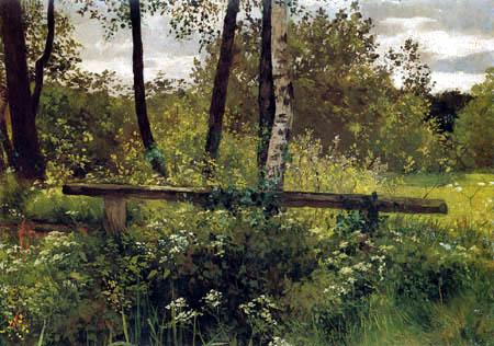 Johann Sperl - Footbridge in a meadow landscape