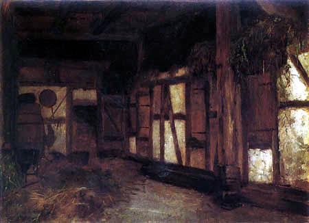 Johann Sperl - Interior of a hayloft